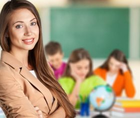 Smiling teacher and student on self-study Stock Photo