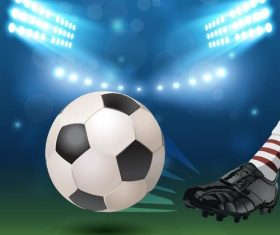 Soccer field background with football vector