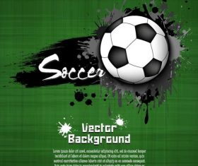 Soccer with grunge green background vector