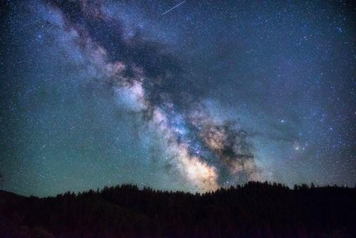 Sparkling galaxy on night sky Stock Photo