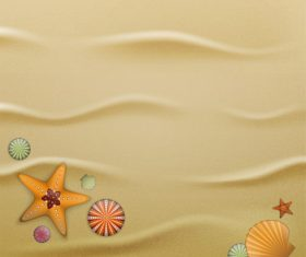 Starfishes and shell with beach background vector 02