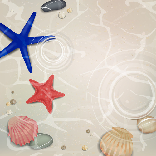Starfishes and shells summer background vector 01