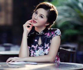 Stock Photo Elegant Asian cheongsam beauty