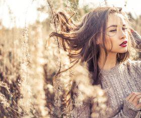 Stock Photo Fashion beautiful lady in autumn landscape 01