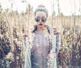 Stock Photo Fashion beautiful lady in autumn landscape 02