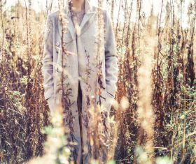Stock Photo Fashion beautiful lady in autumn landscape 03