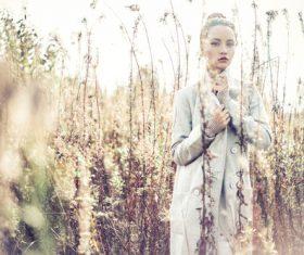 Stock Photo Fashion beautiful lady in autumn landscape 04