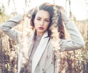 Stock Photo Fashion beautiful lady in autumn landscape 05
