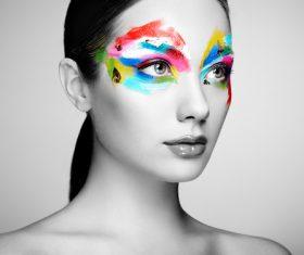 Stock Photo Female models fashion eye makeup 01