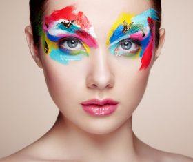 Stock Photo Female models fashion eye makeup 02