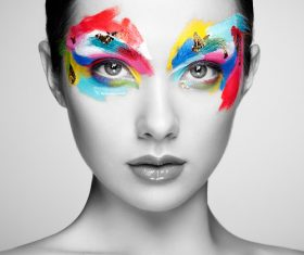 Stock Photo Female models fashion eye makeup 03
