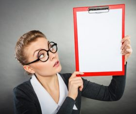 Stock Photo Female secretary holding folder 01