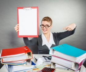 Stock Photo Female secretary holding folder 02