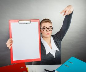 Stock Photo Female secretary holding folder 03