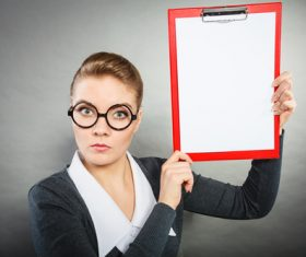 Stock Photo Female secretary holding folder 04