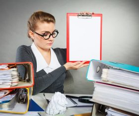 Stock Photo Female secretary holding folder 05