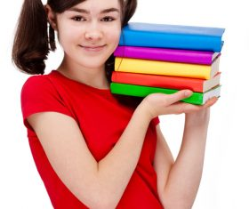 Stock Photo Female student holding book