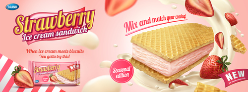 Strawberry Ice cream sandwich advertisement poster template vector