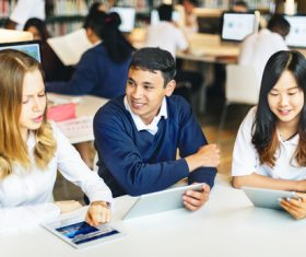 Students Uses tablets pc Stock Photo