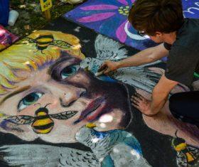 Stylish colorful graffiti floor Stock Photo