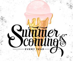 Summer background with ice cream vector