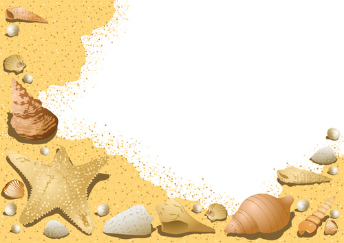 Summer shells with sea background vector