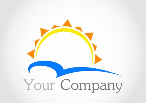 Sun logo design vector 02