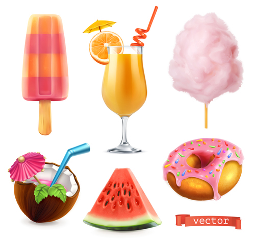 Sweet food with Ice cream and orange juice and cotton candy and watermelon vector
