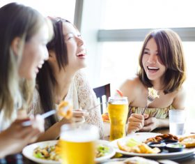 Taste food with good friends Stock Photo