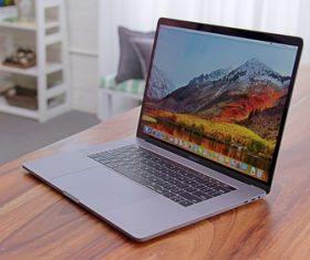 The latest slim laptop Stock Photo