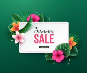 Tropic summer sale background design vector 01