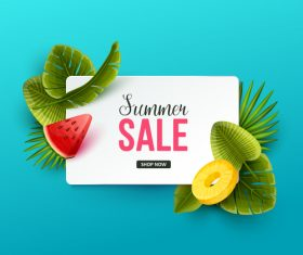 Tropic summer sale background design vector 02