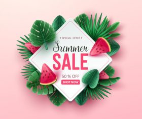 Tropic summer sale background design vector 03
