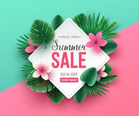 Tropic summer sale background design vector 04