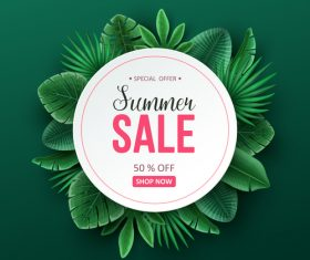 Tropic summer sale background design vector 05