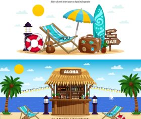 Tropical bungalow bar banners vector