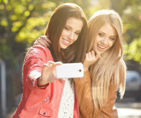 Two good sisters selfie Stock Photo