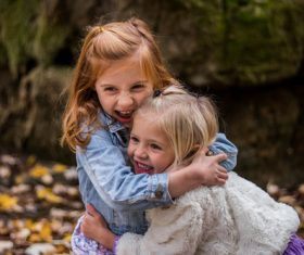 Two playful little girls Stock Photo