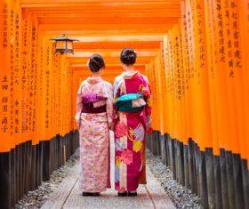 Two women wearing Japanese national costumes and kimonos Stock Photo