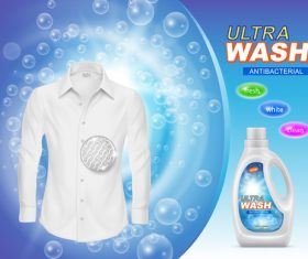 Ultra wash antibacterial Laundry liquid poster vector
