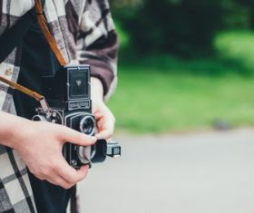 Use old fashioned camera to capture Stock Photo