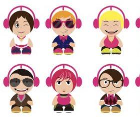Vector cartoon character wearing headphones