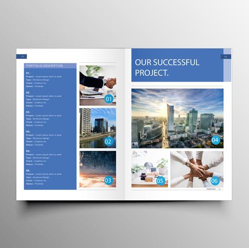 Vector company magazine cover template 01