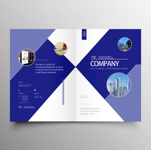 Vector company magazine cover template 03