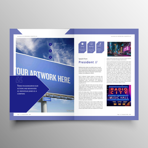 Vector company magazine cover template 05