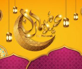 Vector eid mubarak background design material 01
