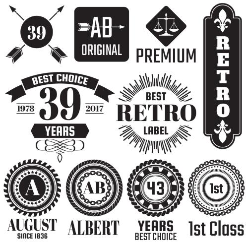 Vintage Badge & Objects vector set 2 01