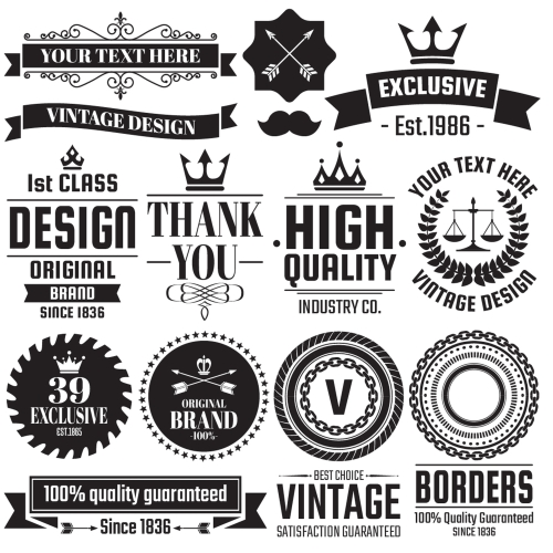 Vintage Badge & Objects vector set 2 02