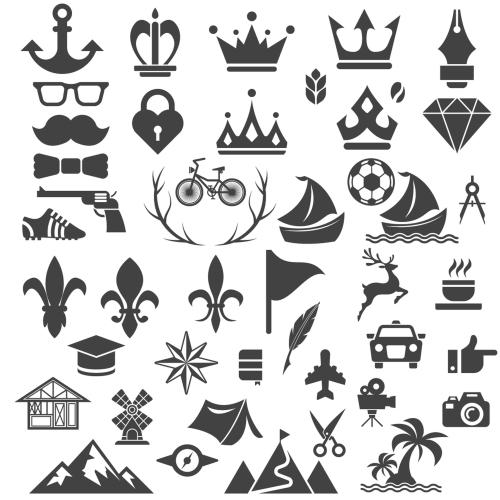 Vintage Badge & Objects vector set 2 04