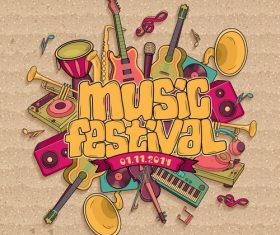 Vintage music festival design vector
